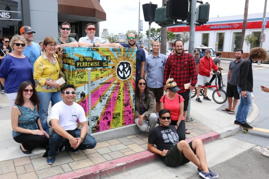 Leadership Hermosa 2016 with artist Daniel Inez (in black) and his tribute to Hermosa punk bands. Photo by Kevin Cody