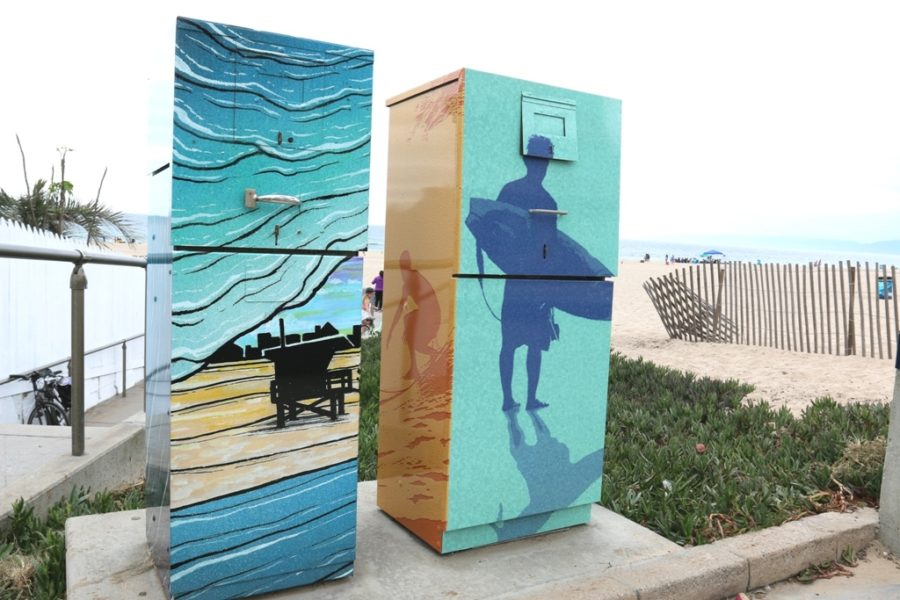 Tributes tpo Hermosa's surf culture by Lisa Arnett and jeff Fleger.