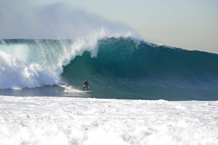 Matt Meistrell, Big Wave Challenge runner-up, January 7 at the Redondo Breakwall. Photo by Photo by Charlie Scholz