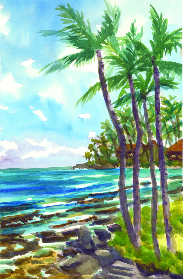 One of Ron Libbrecht's watercolors from his recent trip to Maui, at APC Fine Arts Gallery