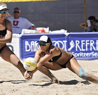 Lauren Fendrick and partner Brooke Sweat hope to earn the coveted Manhattan Beach Open plaque after coming close in recent years. Photo by Frank Goroszko