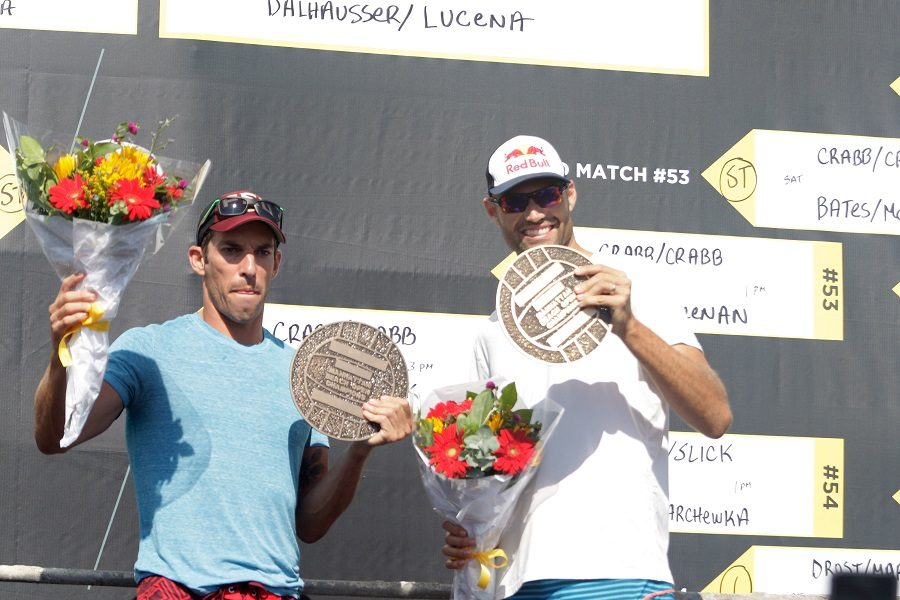 The top-ranked U.S. Olympic men's team of Nick Lucena, left, and Phil Dalhausser are defending Manhattan Beach Open champions. Photo by Ray Vidal