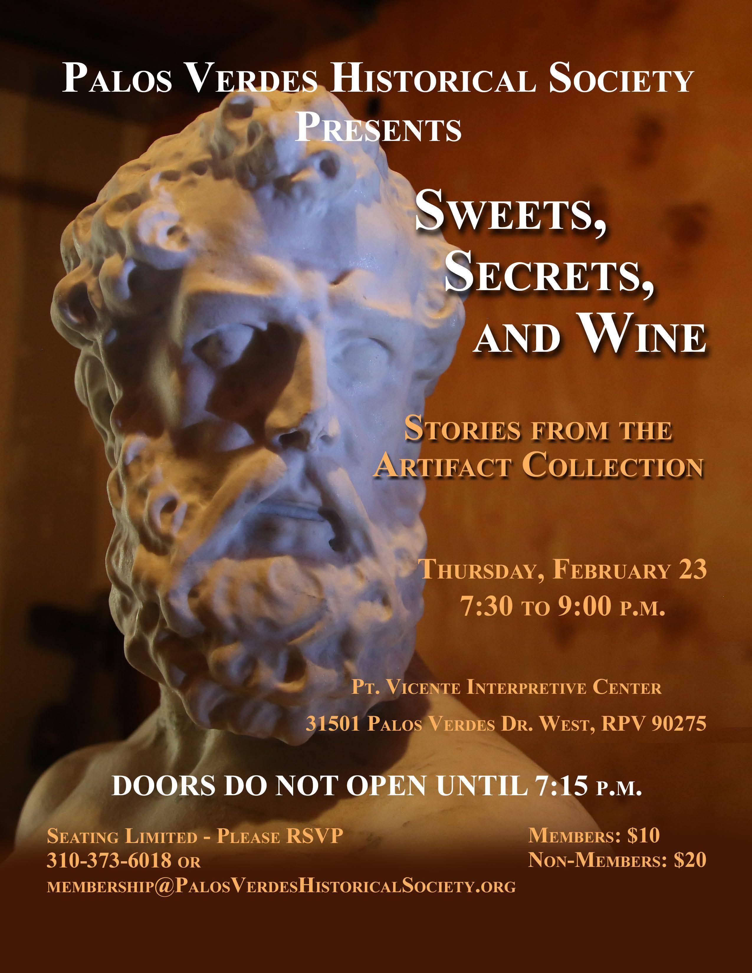 Palos Verdes Historical Society Presents Sweets, Secrets, and Wine @ Pt. Vincente Interpretive Center | Rancho Palos Verdes | California | United States