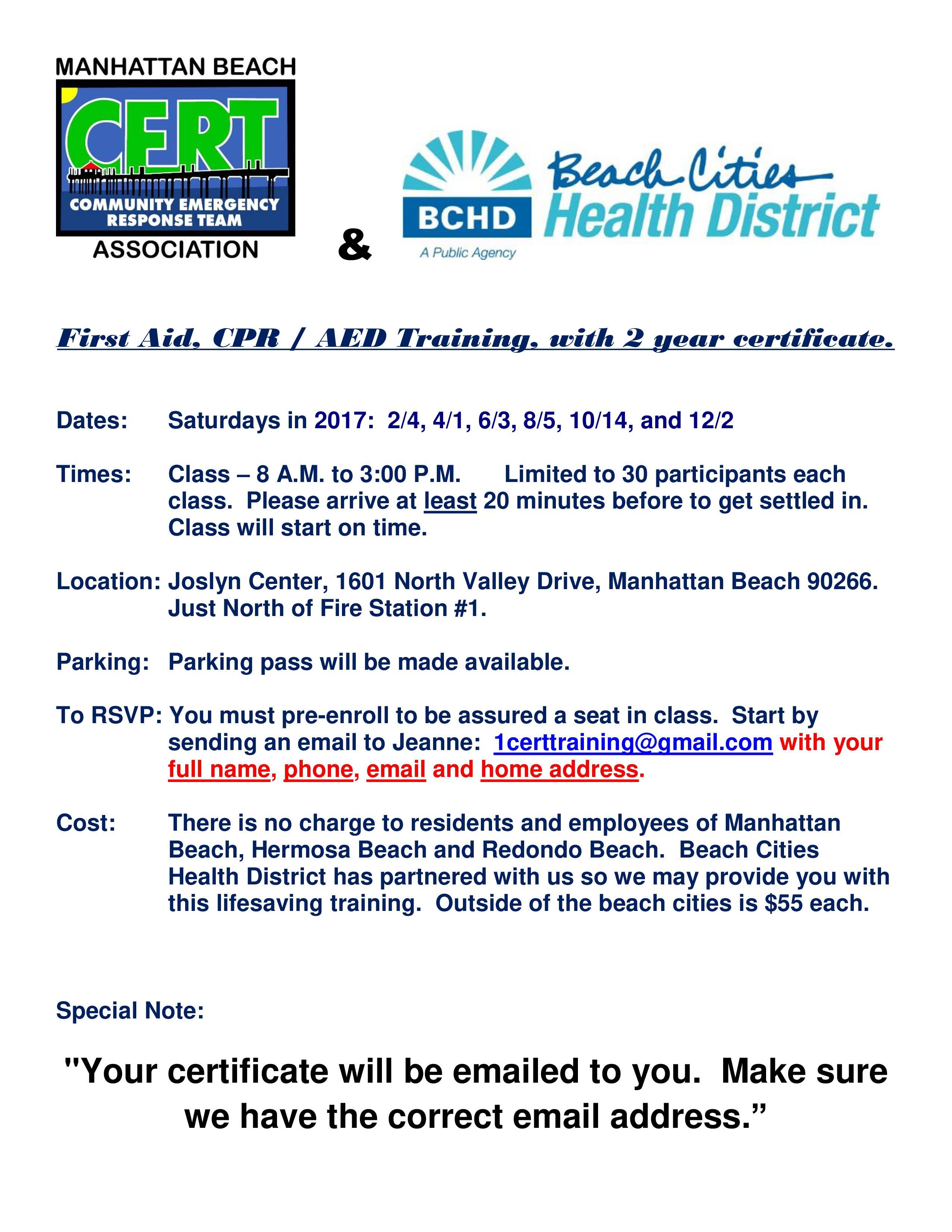 First Aid/CPR/AED Training @ Joslyn Center | Manhattan Beach | California | United States