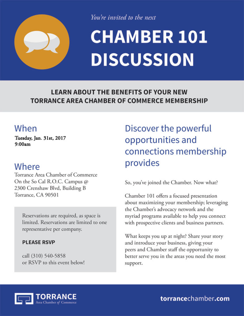 Chamber 101 Discussion - Learn about the benefits of your new Torrance Area Chamber of Commerce Membership @ TTorrance Area Chamber of Commerce On the So Cal R.O.C. Campus | Torrance | California | United States