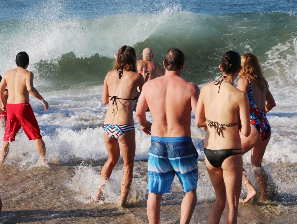 Water warmer than the air at Hermosa Beach Polar Bear Swim