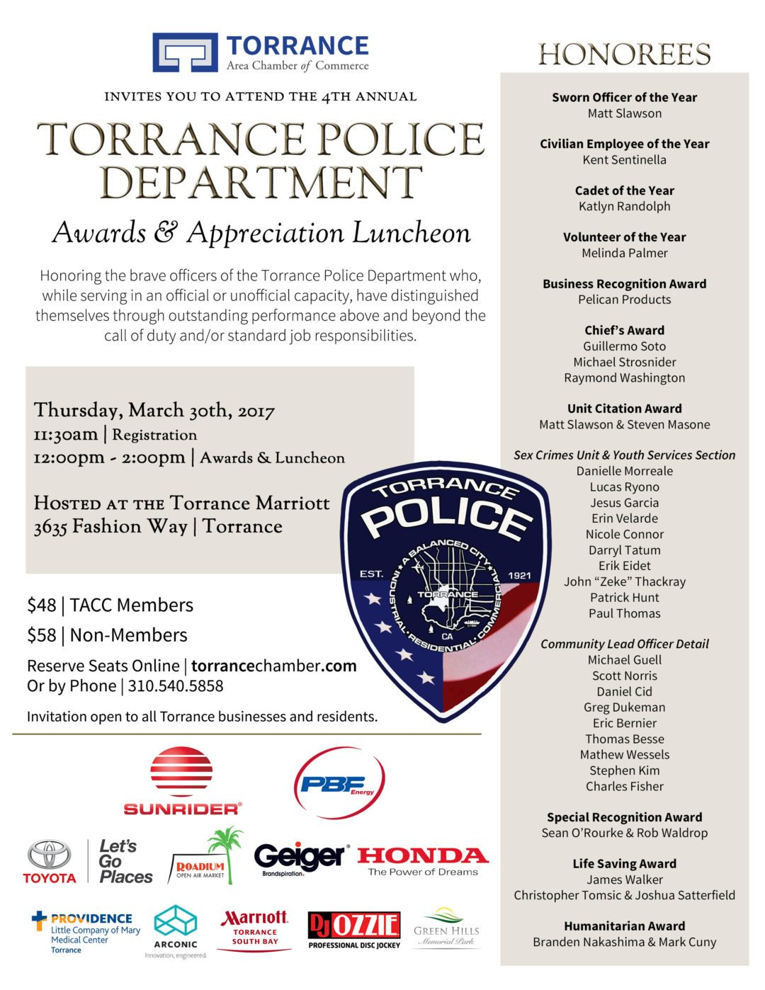Torrance Police Appreciation & Awards Luncheon @ Torrance Marriott Redondo Beach | Torrance | California | United States