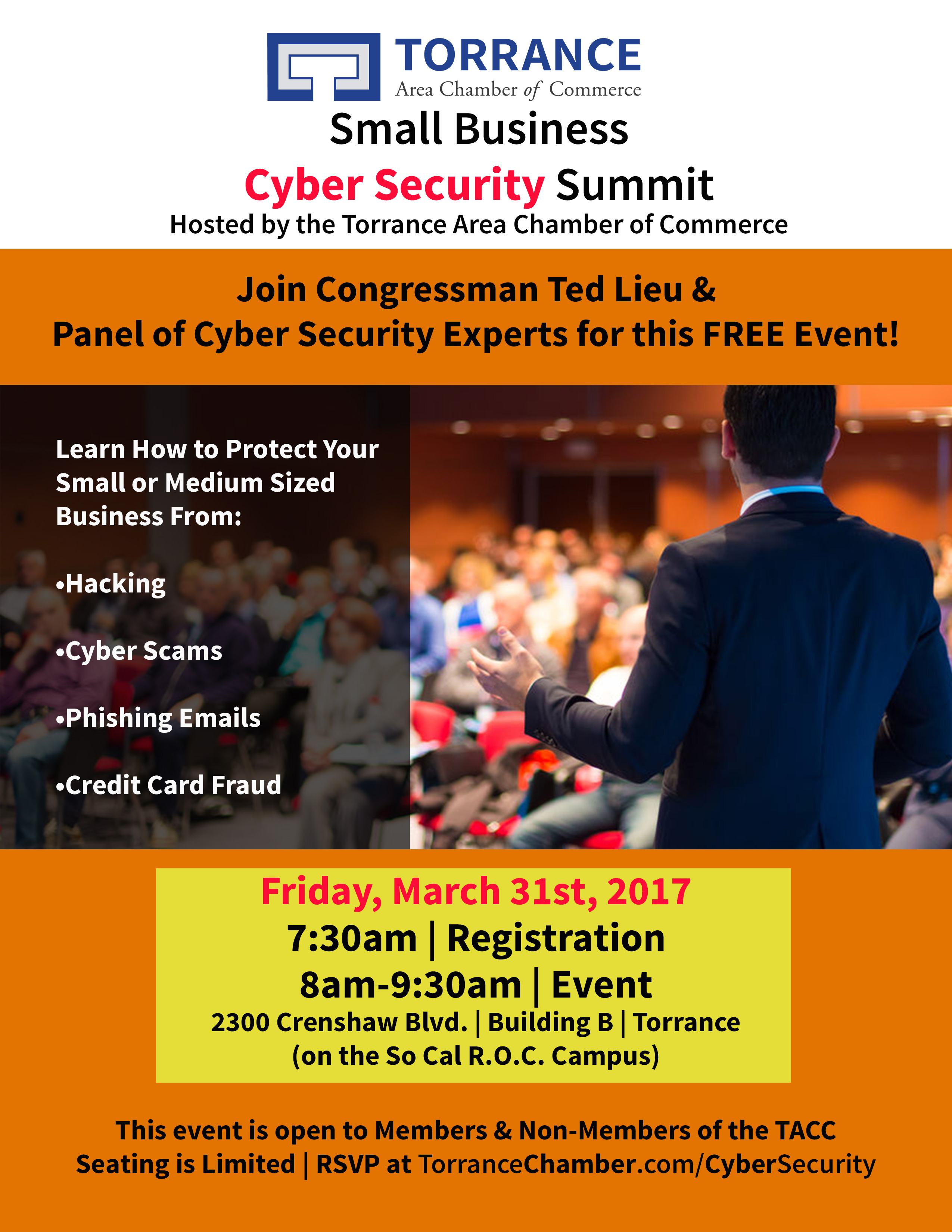 Torrance Area Chamber of Commerce Small Business Cyber Secruity Summit @ So Cal R.O.C. Campus Building B | Torrance | California | United States