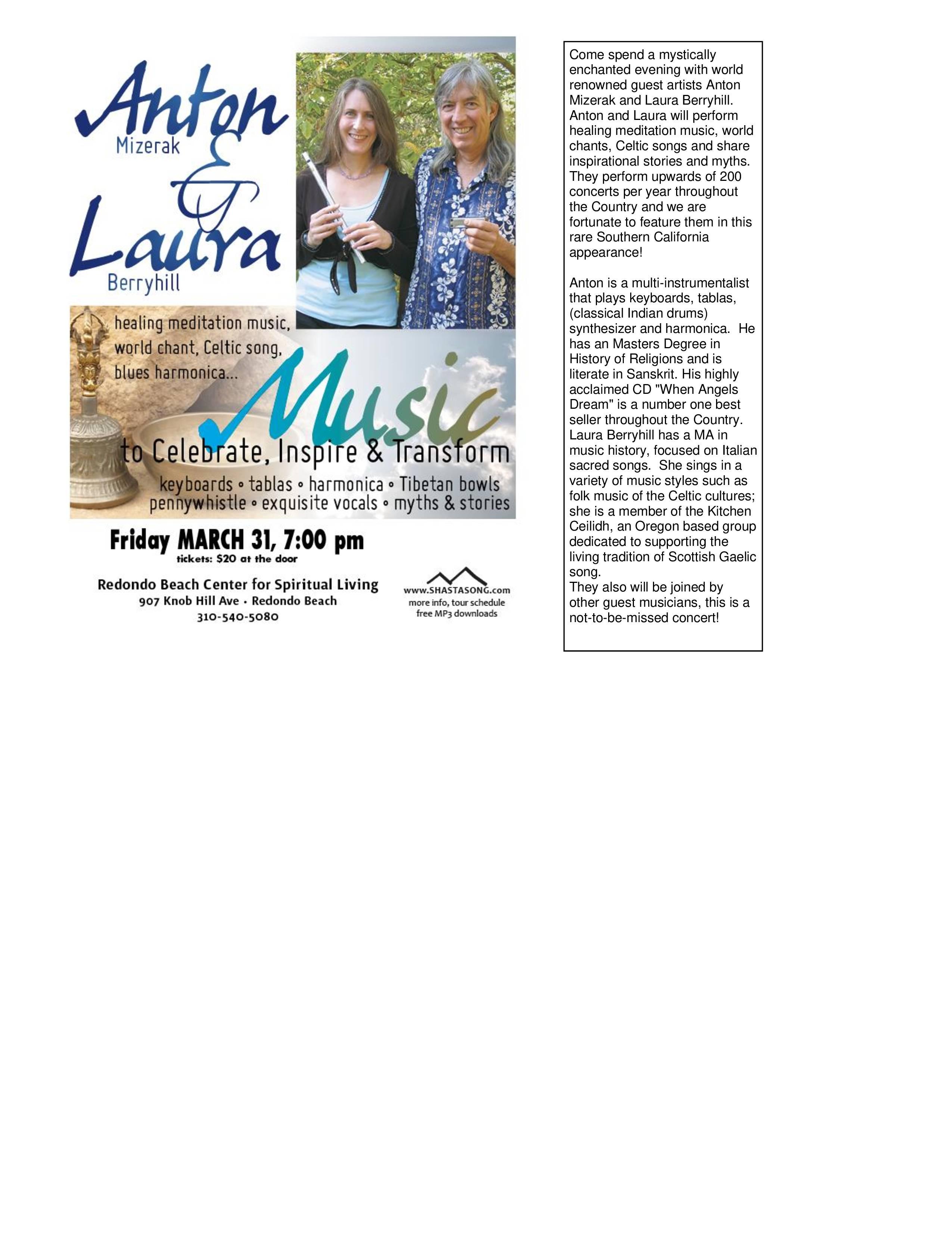 Anton Mizerak & Laura Berryhill @ Redondo Beach Center for Spirtual Living | Redondo Beach | California | United States