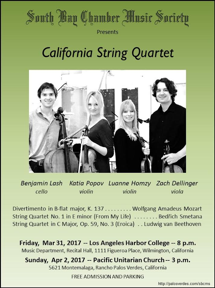 South Bay Chamber Music Society presents California String Quartet @ Los Angeles Harbor College | Los Angeles | California | United States