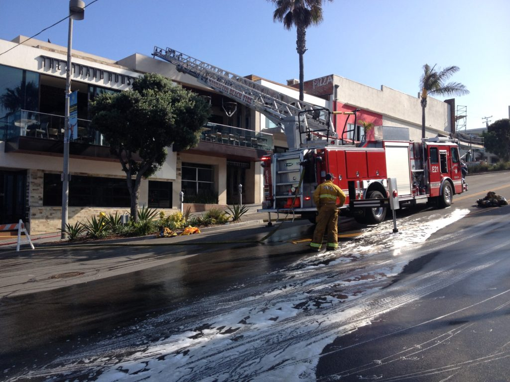 A Fire Crew Waits Outside The Strand House In Downtown Manhattan Beach After Knocking Down An Early Morning Blaze Photo By Ryan Mcdonald