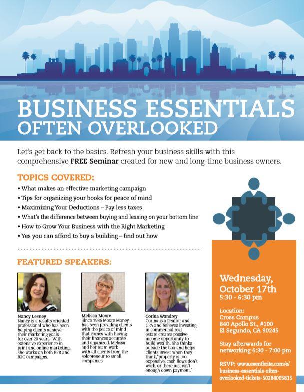 Business essentials often overlooked seminar @ Cross Campus | El Segundo | California | United States