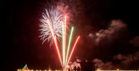 Beach traditions –  Fireworks go up  in Manhattan, Beach ball drops in Hermosa