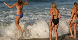 Ocean warmer than the sand at Hermosa Beach Polar Bear Swim