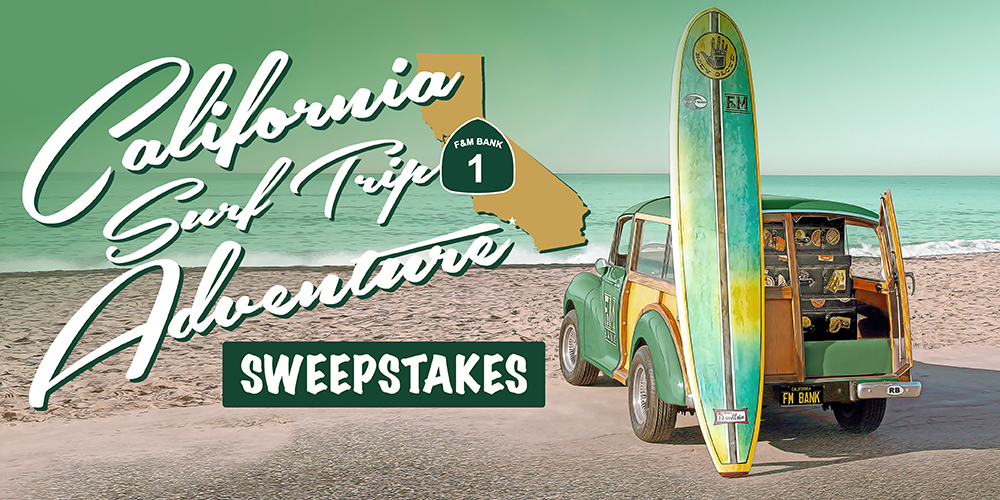 California Surf Trip Adventure Sweepstakes with Farmers & Merchant