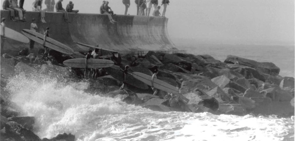 Breakwater: the early days  Longboards, no wetsuits and already hierarchical