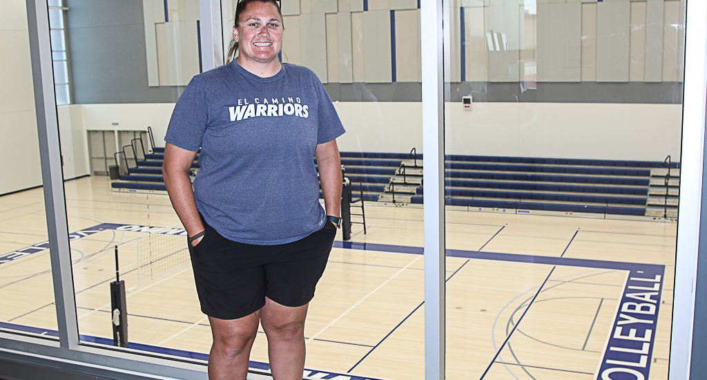 New El Camino College gym includes separate basketball, volleyball facilities.