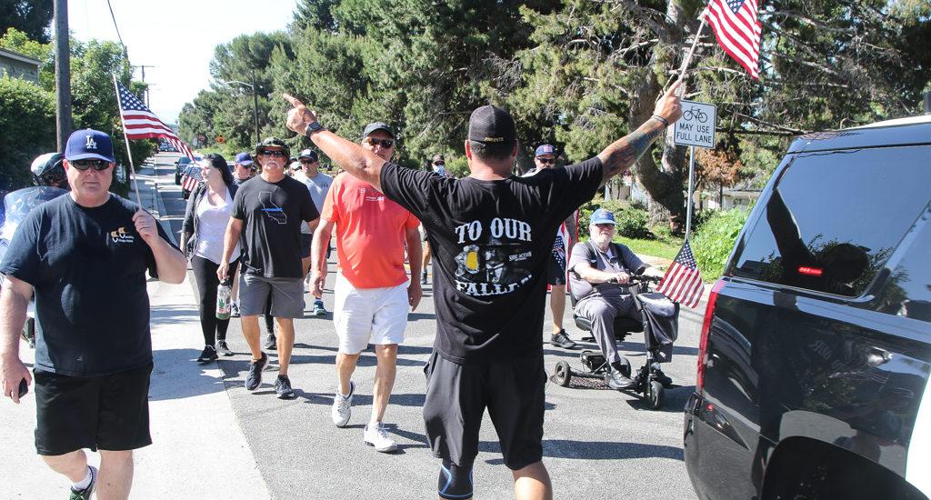 Hermosa Beach, Redondo Beach, Manhattan Beach Police march in memory of Officers Moss, Ganz, Vasquez