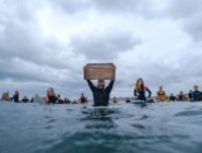 Surfers show support of Black Lives Matter at Hermosa Beach paddleout