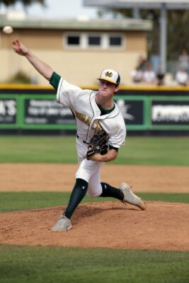 Mira Costa's Thather Hurd's transition this year from catcher to pitcher led to a scholarship from UCLA. Photo by Ray Vidal