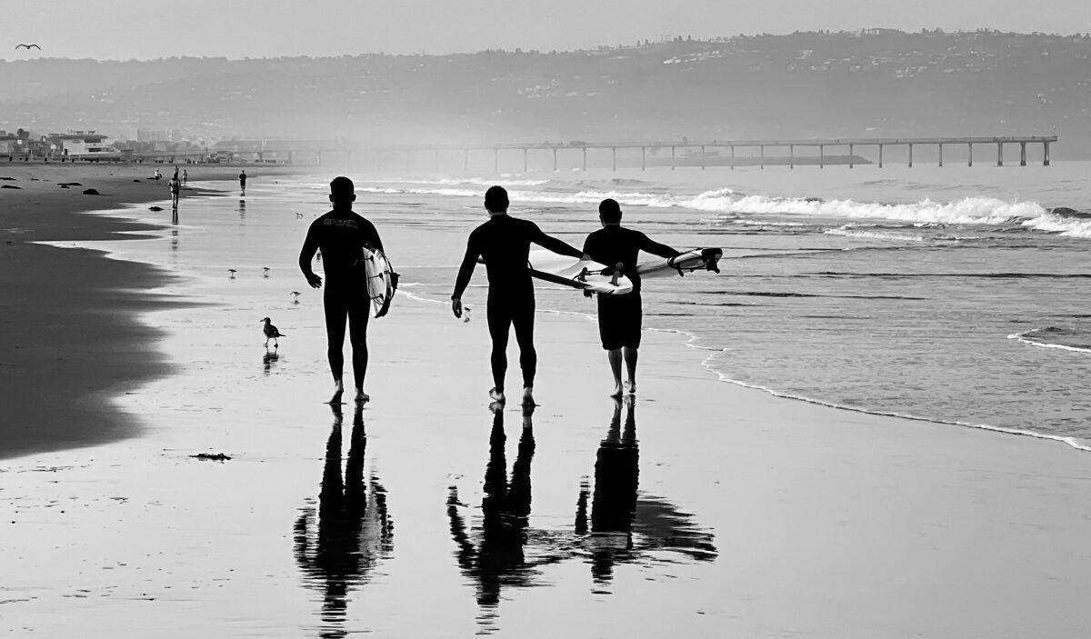 Surfers in Hermosa Beach