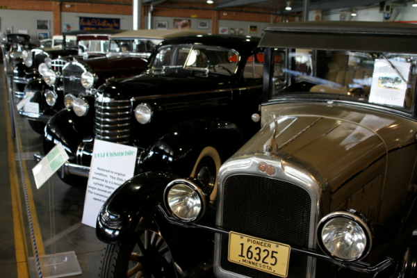 a-1931-ford-model-a-roadster-begins-a-row-of-restored-automobiles-at-the-automobile-driving-museum