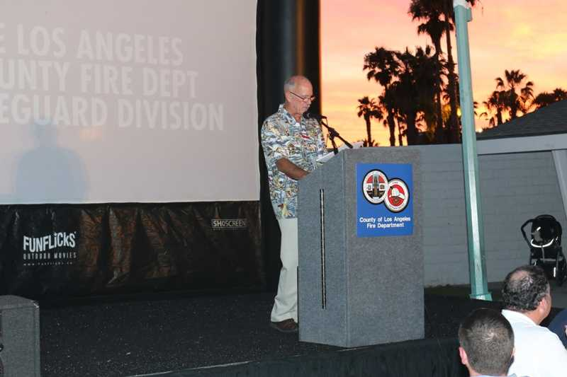 Event emcee and retired lifeguard Dick Douglass