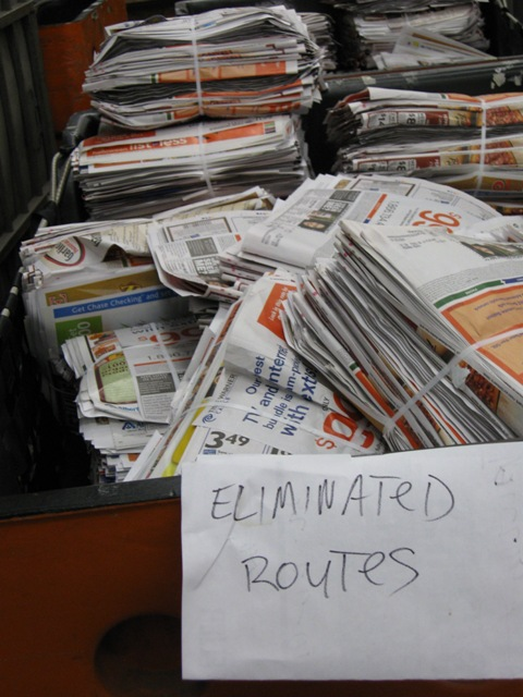 The alleged 2009 trashing of mailers also came after route consolidations.
